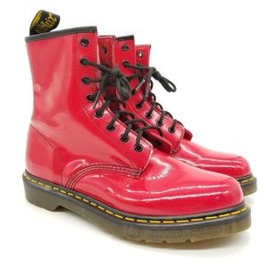 Dr. Martens Red Patent Leather 1460W Boots Sz 9